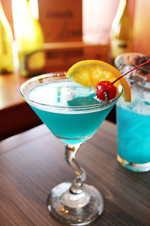 Jensen's Food and Cocktails blue martini
